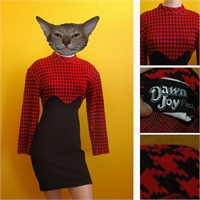 80's houndstooth dress red/black