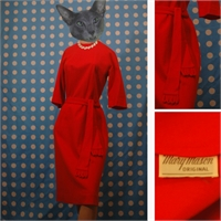 1950's red dress with matching sash
