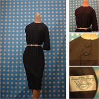 Black late 1950's dress with chunky buttons