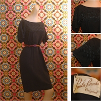 1950's Black hourglass dress with embroidered top