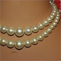 Two Strand Necklace, White Beads, bild 905