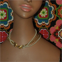 3 Strand White & Brass Bead Necklace with Beautiful Clasp