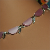 Choker With Half Circular Pink Beads And Silver Leaves